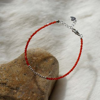 Red Agate Silver 925 Bracelet with Linear Memory Alloy