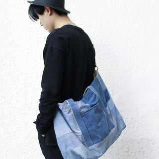 牛仔拼布大袋 denim patchwork bag