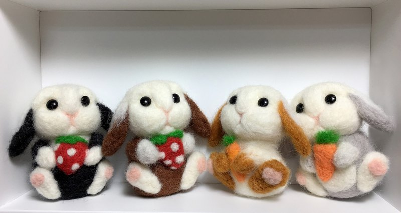 Wool felt cute rabbit charm key ring charm