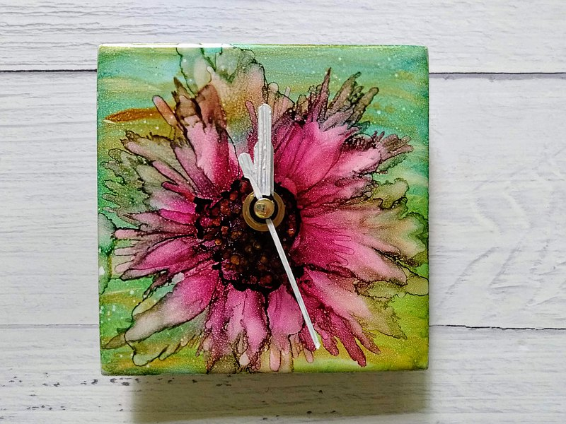 Hand painted clock, Handmade home decor, Alcohol ink clock, Mini clock