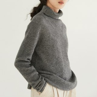 Medium Grey Gentle Waffle Cashmere Wool Blend Sweater Cashmere Australian Wool Turtleneck Sweater