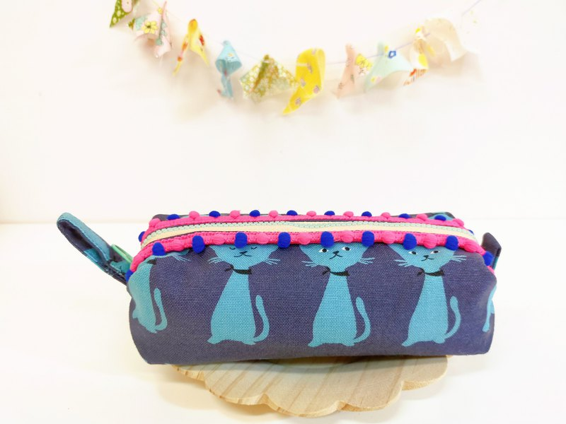Blue cat fat bag cosmetic bag storage bag pencil case