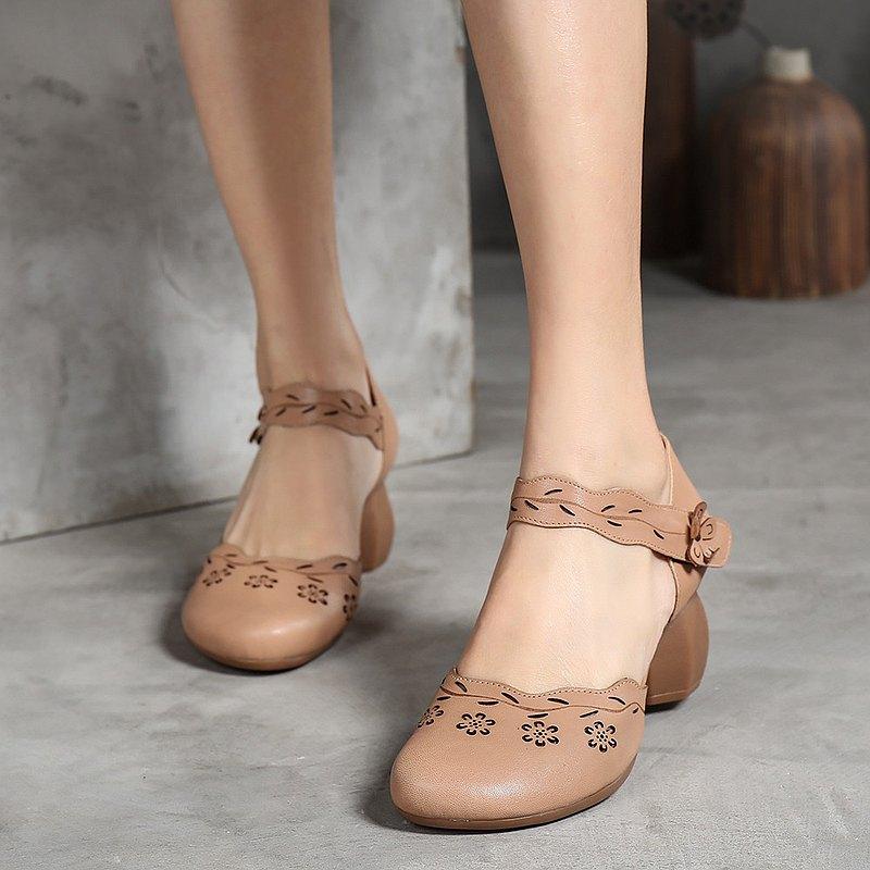 甜美圓頭舒適魔術貼涼鞋復古女鞋