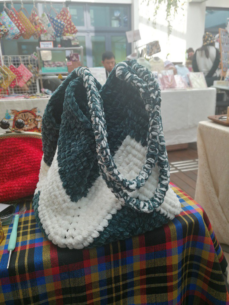 Hand Crochet Winter Green with White Large Tote Bag Shoulder Bag Chenille Bag