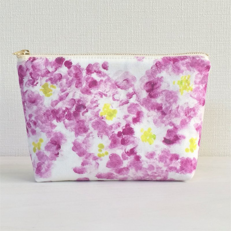 Bloom Flower Machi with Pouch Floral Pattern Purple
