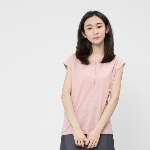 Slub yarn fabric cap sleeve shirt /Pink