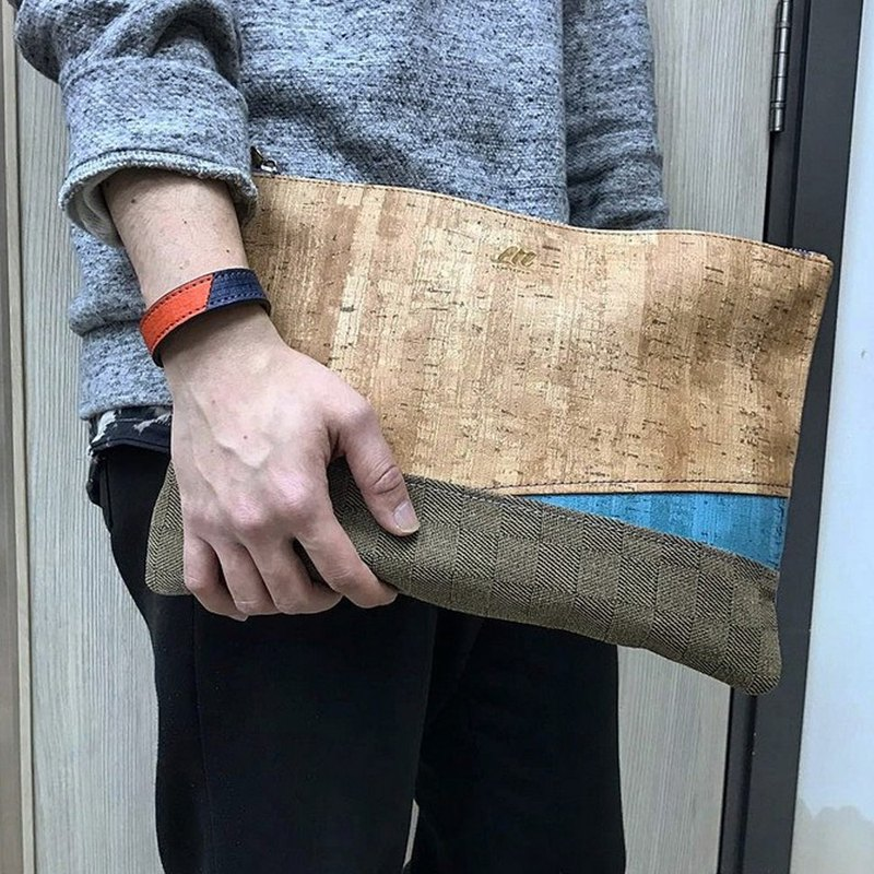 Hand made leather different material stitching personality clutch