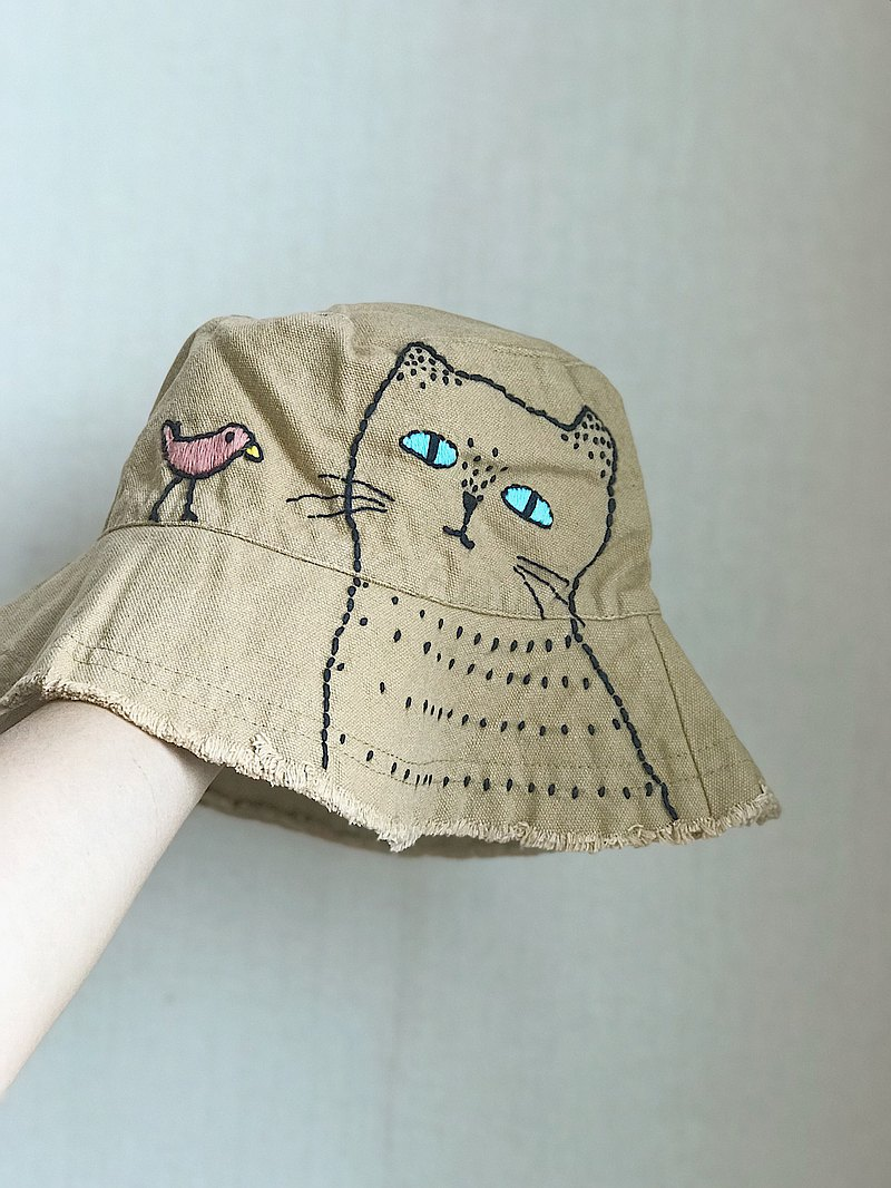 Bucket hat handmade embroider / Light brown color