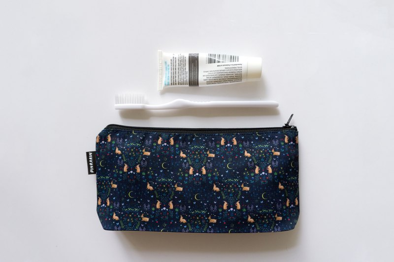 Rabbit zipper accessories pouch / Canvas tool bag / Stationery bag - Navy Blue