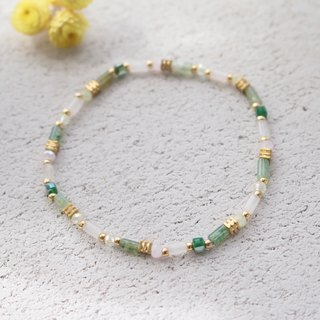 Green Chalcedony Brass Bracelet 0592-Rainbow Sugar
