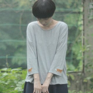 fox sleeve t-shirt : gray