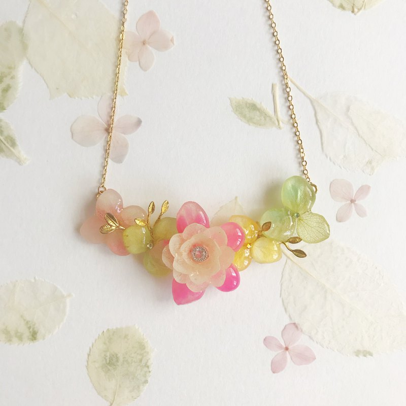 Flower jewellery Real flower Necklace Pink 18KGP