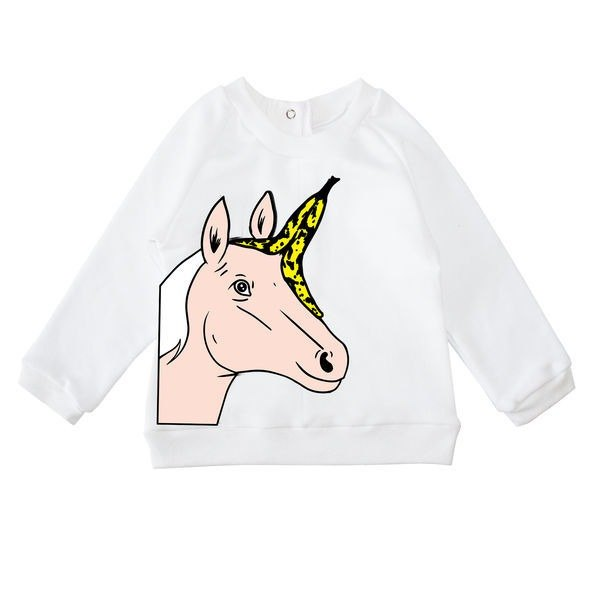 Unicorn style long-sleeved cotton top