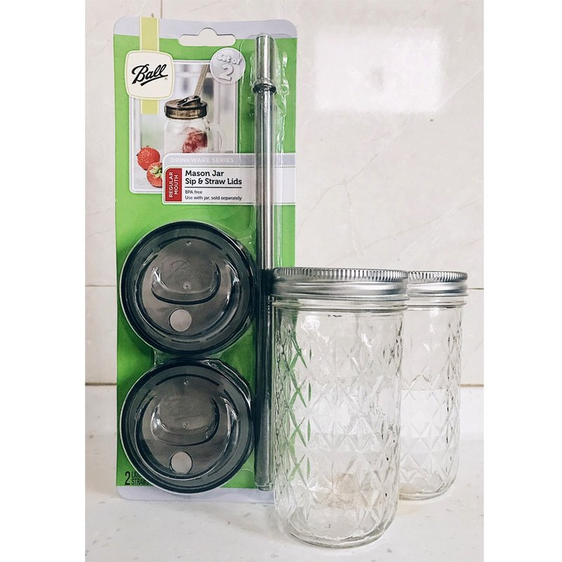 Ball Mason Jar Mason Jar Set _12oz Rhombus Tank*2+ Narrow Straw Cup Set*1