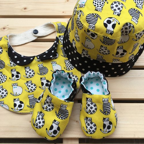 Yellow kitten kitten gift group - hat + bib + shoes