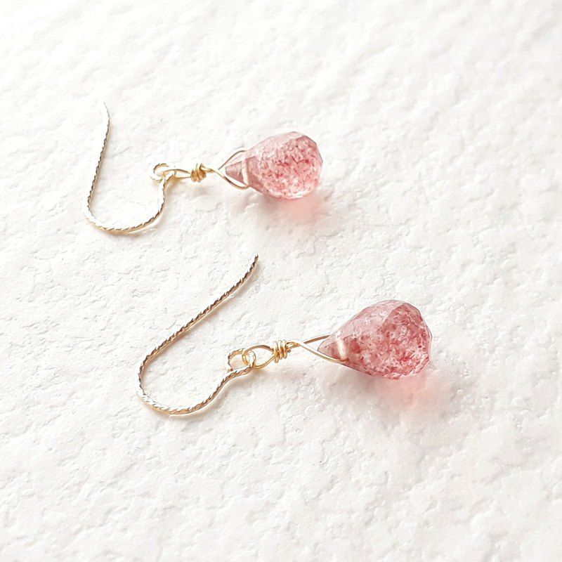 14KGF strawberry quartz drop faceted earrings (clip type possible)