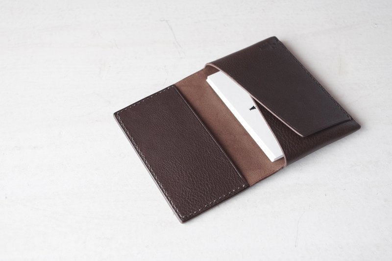 【受注生産】Italian leather Business Card Case choco