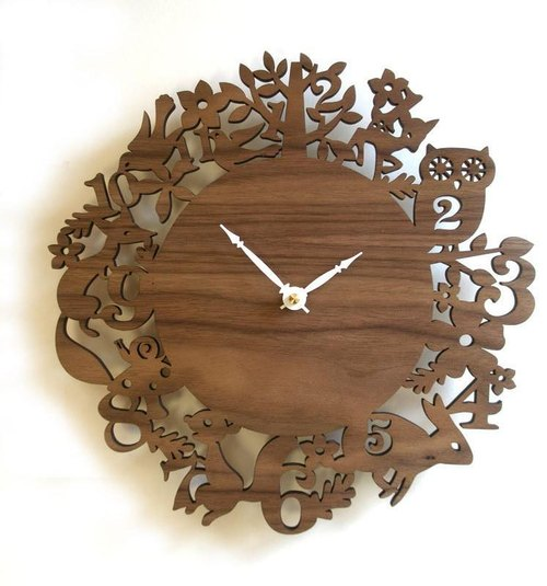 Unique wall clock, Forest Animals, Walnut veneer