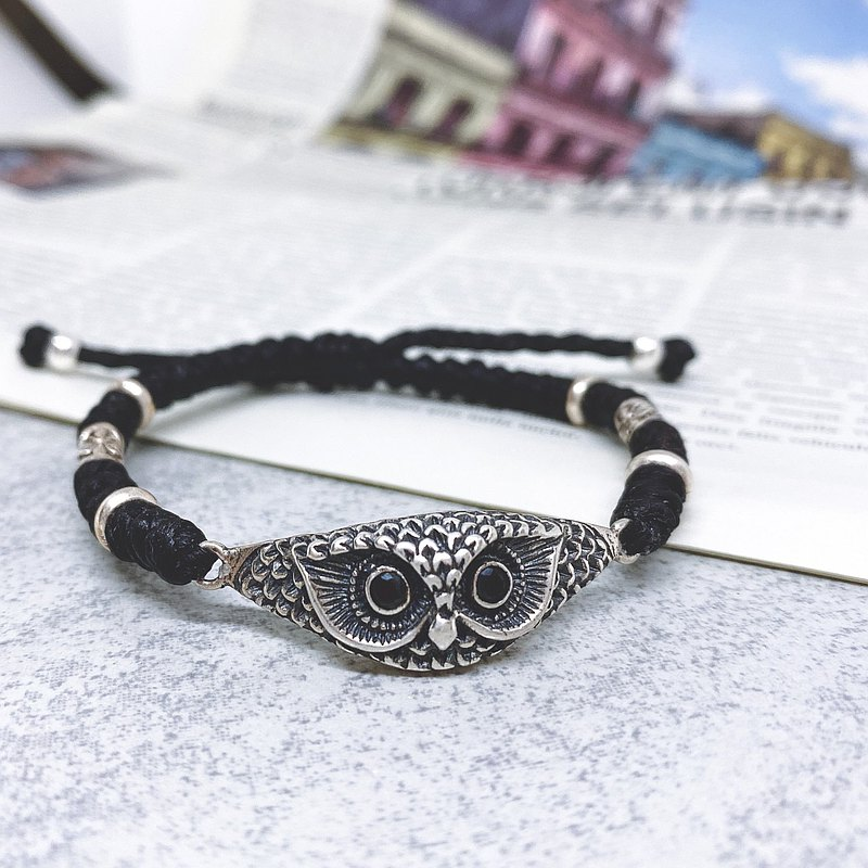 Wisdom Heart Owl Guardian Custom Bracelet Waterproof Wax Line Silk Wax Line 925 Sterling Silver