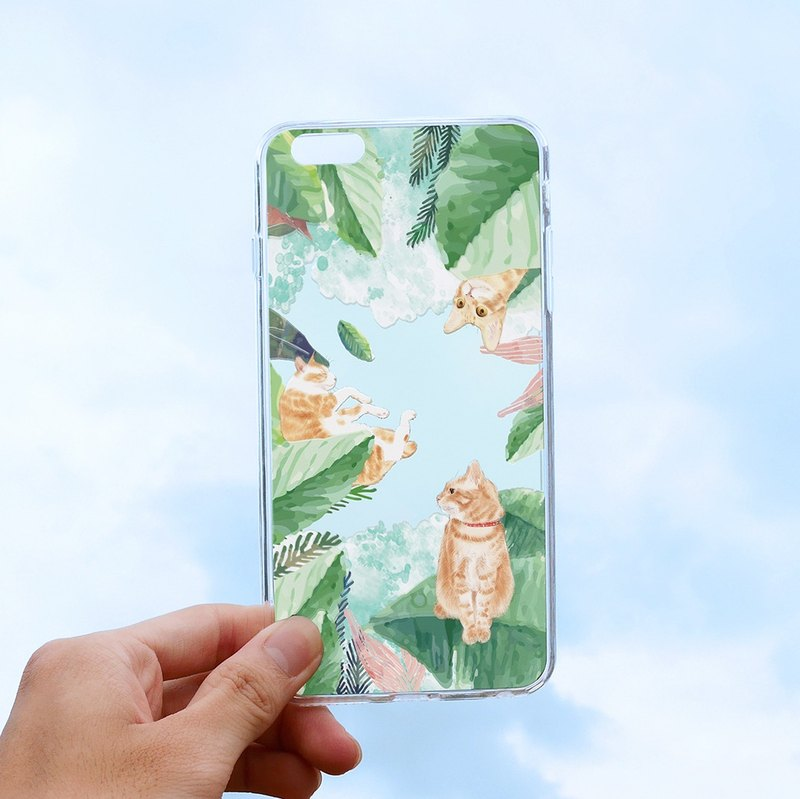 "Small orange cat forest ""relief soft shell"" -iPhone (i5, i6s, i6splus, i7.i7plus) / Android (Samsung, HTC, Sony) original phone case / transparent case."