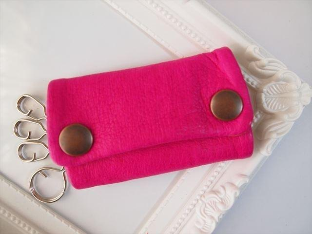 [Pig leather soft key case multi-color leather 1533004