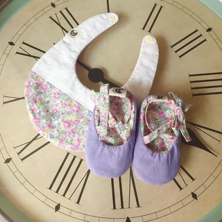 120 pink purple floral baby shoes X stitching bib newborn baby gift box gift group