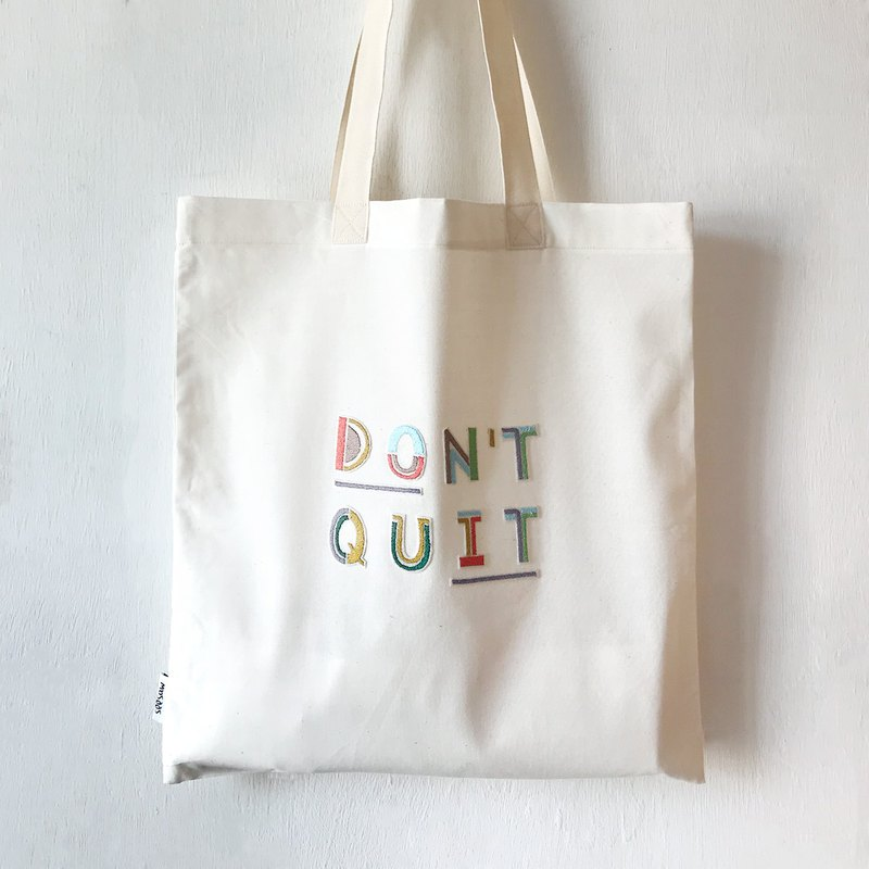 """Don't Quit. Do It"" Embroidered Patch Tote Bag"