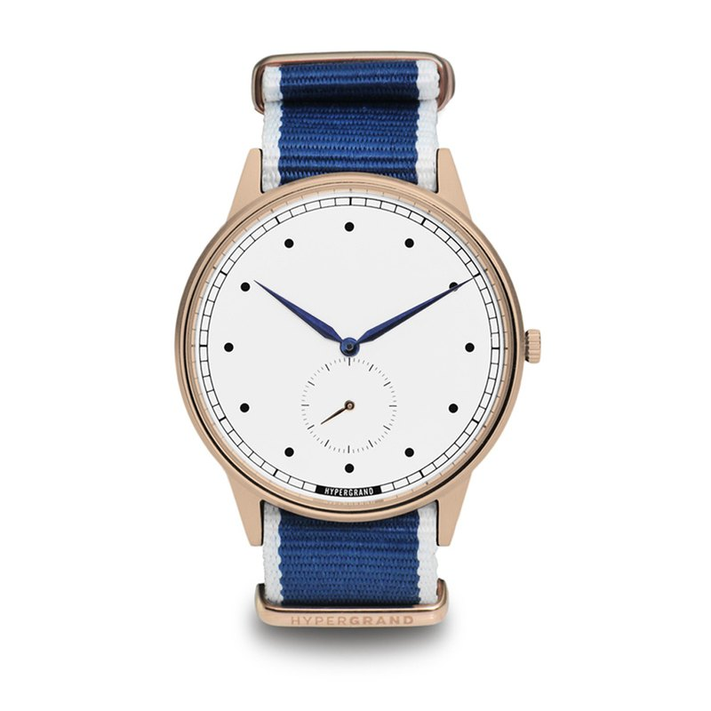 HYPERGRAND - Second Hand - Rose Gold White Dial Blue Twill Watch