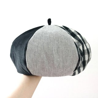 Black Department quilt handmade double-sided hexagonal hat painter hat