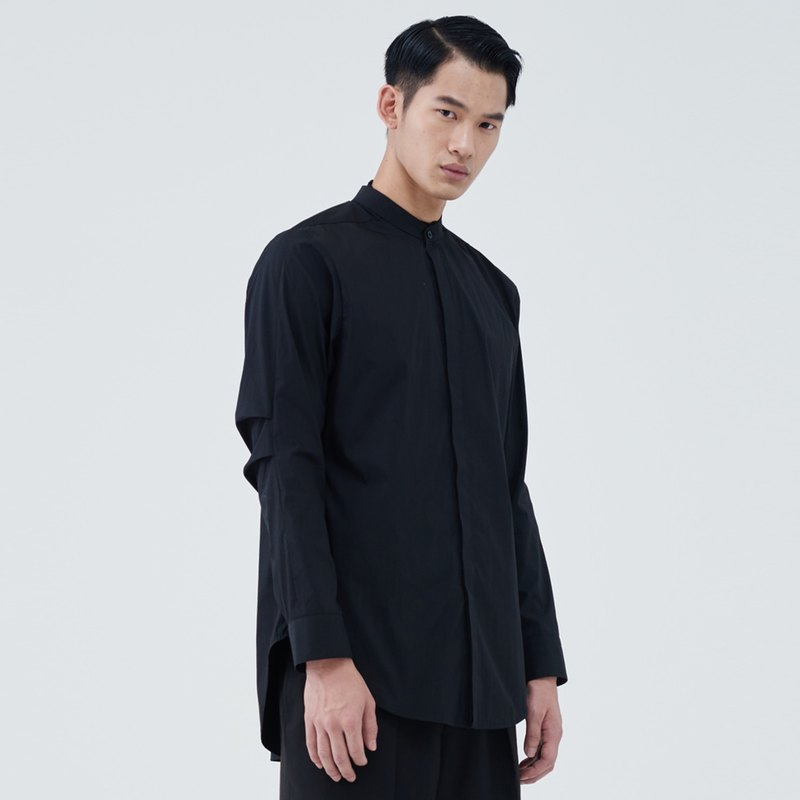 grandad-collar shirt with gathered sleeves