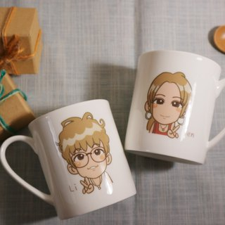 Custom Q version cartoon-like painted bone china cup