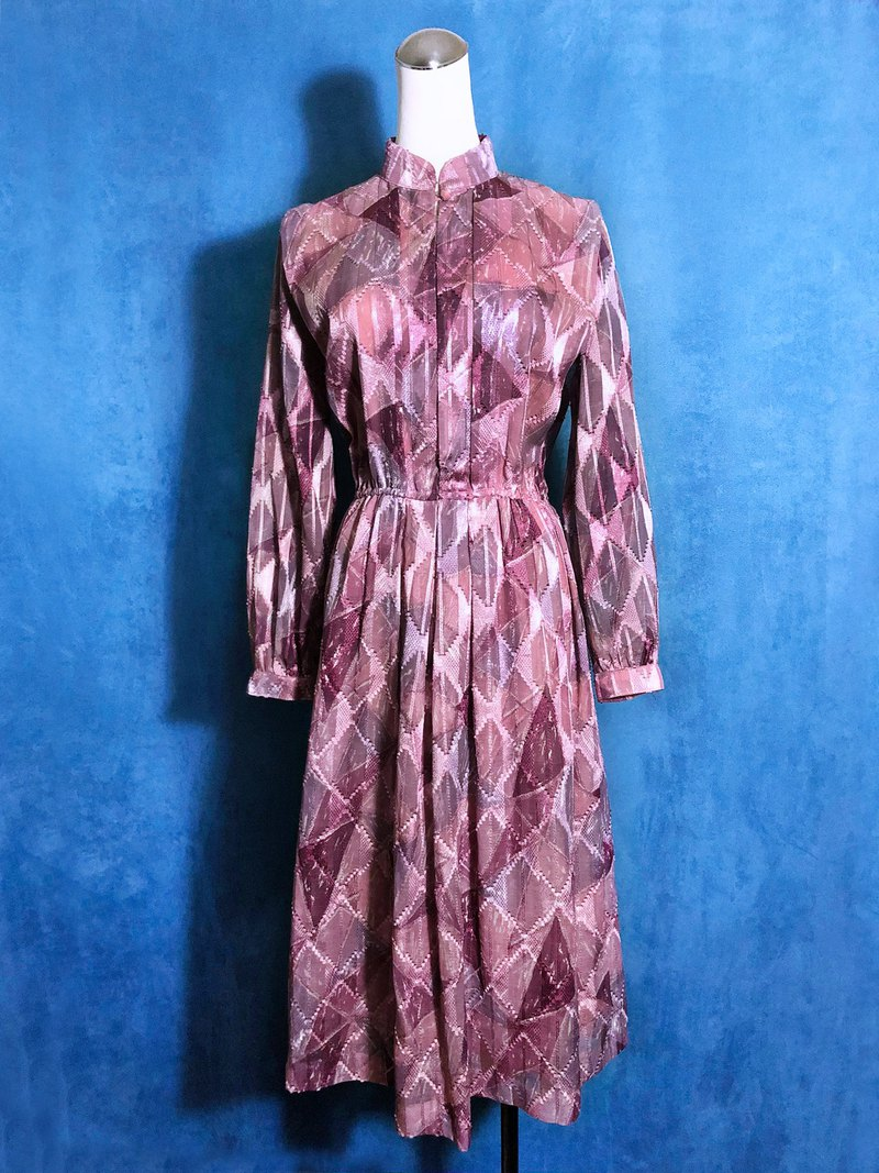 Double-textured light antique long-sleeved dress / bring back VINTAGE abroad