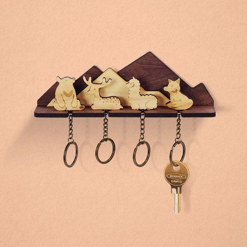 Over the Mountains - Wooden Key Chain Rack Set (Four In) - Keys / Storage / Wall Hanging