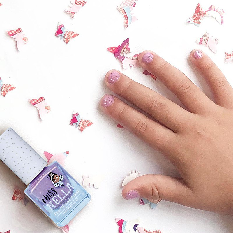 British [Miss Nella] children's water-based tear-proof safety nail polish - sparkling butterfly purple (MN06)