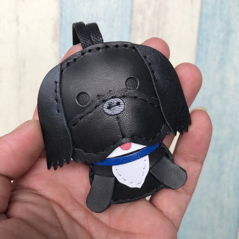 Leatherprince Handmade Leather Taiwan MIT Black Cute Shih Tzu Hand-sewn Leather Charm Small size small size