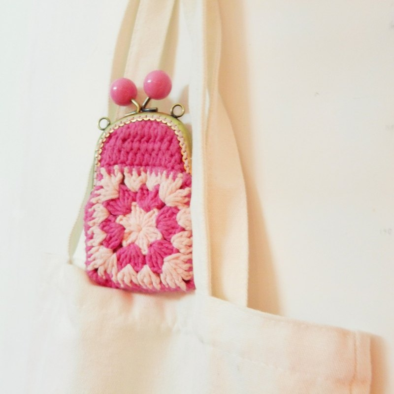 Independent Original Series crocheted spring cherry pink stitching red rose purse mouth gold package