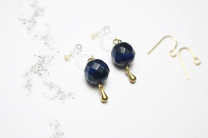 // VÉNUS 觅 decorated cat eye 耳 when earrings brass cat eye ear pierced ear clip dark blue // ve101
