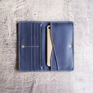Litchi pattern leather zipper long clip - Tibetan blue (6 cards) Passport clip mobile phone cover long wallet