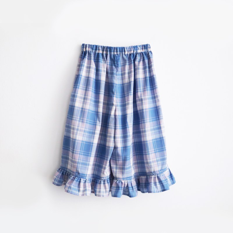 Betty first visits plaid lotus leaf wide pants