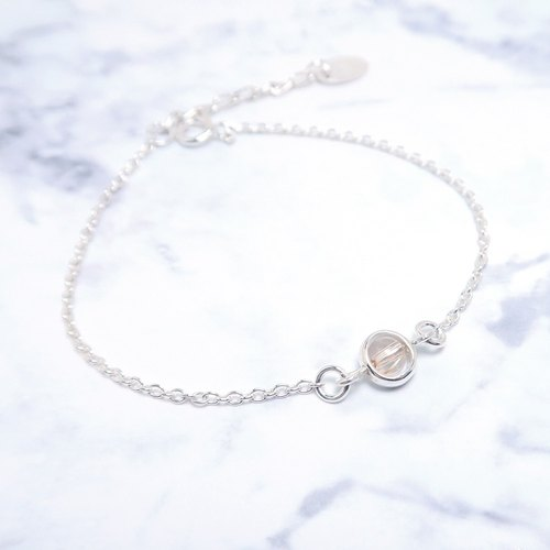 Blonde Crystal Heart Bracelet (Small) - 925 Sterling Silver Natural Stone Bracelet