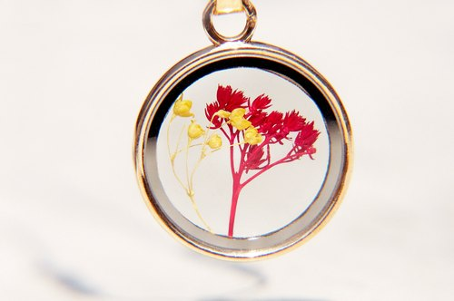 Mother's Day gift / forest girl / French-sided translucent glass necklace of dried flowers - flowers red + yellow stars