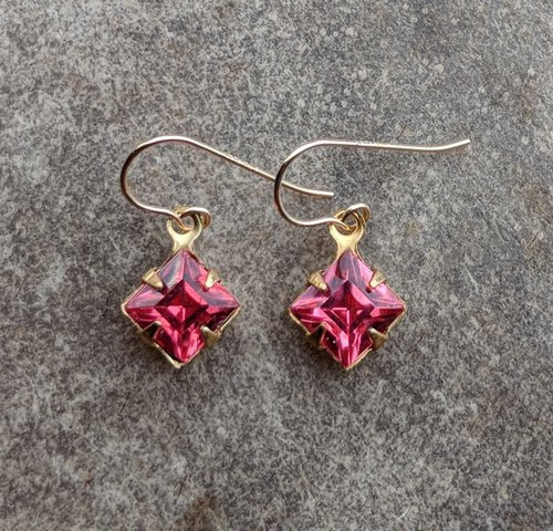 Dainty Vintage Pink Glass Earrings