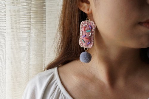Pink braided embroidery rectangular exaggerated earrings