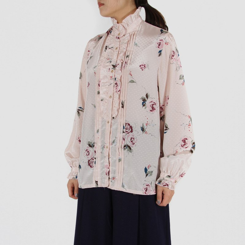 [Egg Plant Vintage] Flower-patterned Satin Printed Vintage Shirt