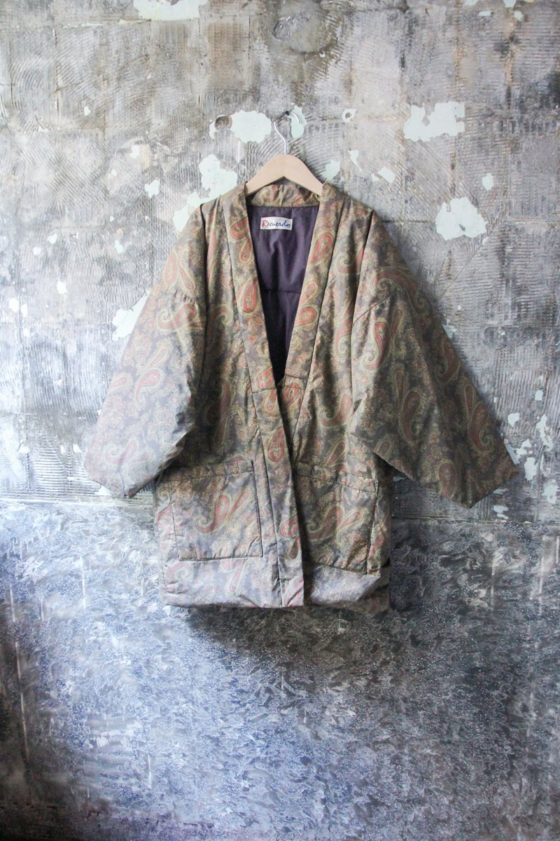 袅袅 Department Store-Vintage Japanese Amoeba Cotton Wrap Coat