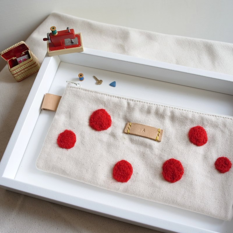 Mushrooms red dot leather wool felt young artists Pencil / Cosmetic Bag