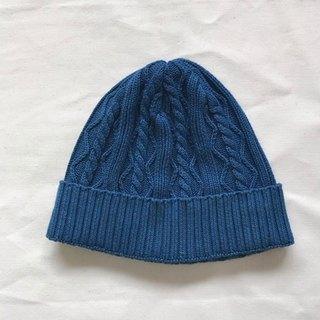 Indigo dyed Aizen - Cable knitted cap cotton Cable knitted cotton knit