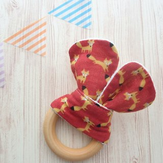 Wooden Teething Ring.Organic Wooden Ring,Handmade,Sensory Toy,Natural Maple Wood,Fox on Red,Boy,Girl