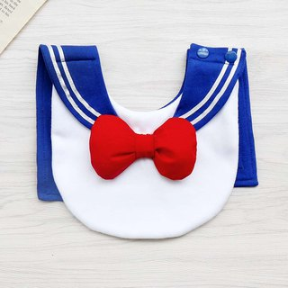 DOMOMO sailor collar (treasure blue) cute baby female warrior style saliva towel bib