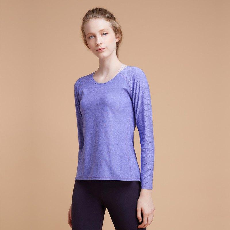 【MACACA】fit對流長袖訓練衣|| - BPT3372 紫麻花